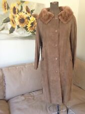 WEISS & GOLDRING FURS vtg 50s-60s Tan MINK COLLAR Suede COAT SWING BACK Small
