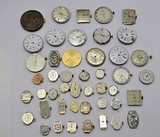 Lot Vintage of 46 +  Watch Movements For Parts Hamilton Longines Bulova Omega