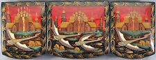 Russian Lacquer Box Swans flying South Three compartments  Each Hinged