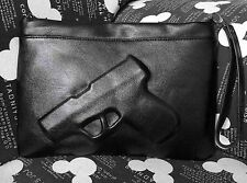 Womens Punk Leather 3D Gun Handbag Clutch Pistol Embossed Messenger Shoulder Bag