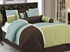 Chezmoi Collection 7pcs Brown Blue Green Quilted Patchwork Comforter Set Queen