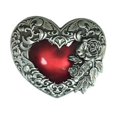 Unique Red Heart Rose Flower Floral Silver Plated Belt Buckle Filigree Cowgirl