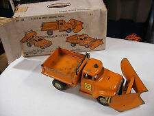 1950'S TONKA HIGHWAY SERVICE 3 IN 1 PLOW TRUCK W/ BOX ORANGE RARE VINTAGE STEEL