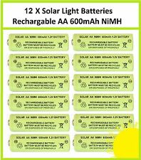 12 x AA 1.2V 600mAh NiMH Rechargeable Batteries for Solar Lights - replaces NiCd