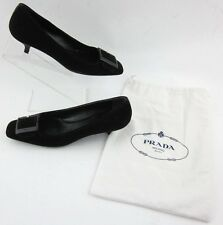 Prada Sz 38/8 Black Suede Leather Logo Buckle Kitten Heel Pumps Shoe Bag