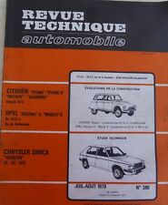 Revue technique CHRYSLER TALBOT SIMCA HORIZON LS GL GLS RTA 380 1978