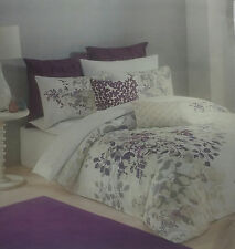 BRAND NEW! KAS AUSTRALIA WINCHESTER TWIN DUVET COVER WHITE PURPLE EMBROIDERED