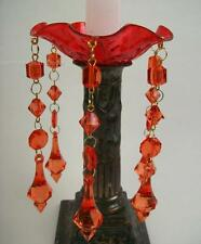 Red Acrylic Dangle Prism Teardrop Candle Bobeche Candle Ring