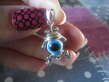 Silver pendant Greek evil eye good luck charm pendant cute frog toad MadeGR ELGR
