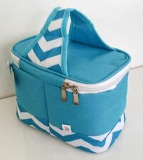 Cooler Lunch Tote Bag Turquoise White 6 pack Mini Chevron Canvas LIghtweight