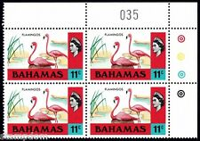 BAHAMAS 1971 QE2 11c Flamingos Block4 with plate number MNH @B499