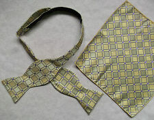 NEW MENS SELF TIE DICKIE BOW GOLDEN CREAM PURPLE BOWTIE & TOP POCKET HANKIE
