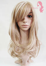 W62 Honey Blonde Highlight Long Wavy Wig Synthetic Skin Top Natural Look