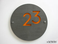 Modern House Numbers ,Round Concrete & Yellow Acrylic- Sign Plaque - Door Number