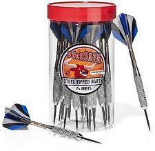 24 Pack Steel Tip Darts Set in Carry Case Storage Jar 21 Grams Game Play New