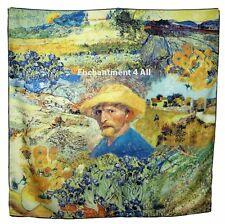 """Handmade 100% Silk Twill Art Scarf Wrap w/ Van Gogh """"Self Portrait w/ Straw Hat"""""""