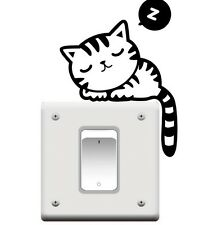 FD774 Cute Cat Nap Pet Light Switch Funny Wall Decal Vinyl Stickers Black ~1pc g