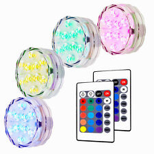 4pcs Waterproof LED RGB Submersible Light Wedding Party Vase Lamp Remote US