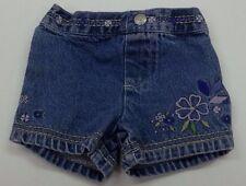 Baby Girl Shorts Size 3-6 Months Koala Kids Blue Jean Denim Purple Flowers