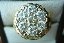 BLING!  1.75 CARAT 7 DIAMOND MENS GENT'S  KY CLUSTER RING 14K YG SZ 9.5