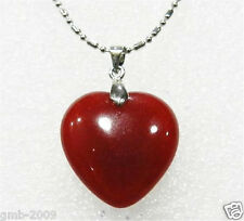 Beautiful New Women's Red Jade Ruby Heart Shaped Pendant