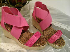 Authentic Michael Kors ~Stunning Pink Leather & Hemp Platform Sandals ~RRP £185