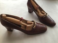 Vintage Womens Bally High Heel Loafers Leather Made in Italy with Shoe Trees 8.5