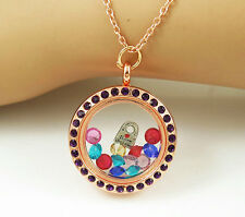 Living Float Charm Memory Purple-crystal round Rose-gold Locket Necklace M18