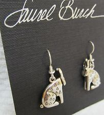 VINTAGE LAUREL BURCH Signed Silver 3D RABBIT French Wire Dangle EARRINGS