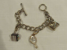 JUICY COUTURE Retired Chocolate Cake Hand Mirror Heart Toggle Charm Bracelet 7""