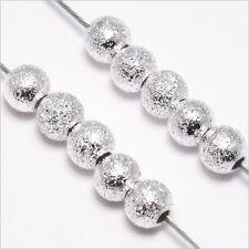 Lot 50 Perles Rondes en Métal 4mm Laiton PLAQUE ARGENT