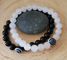 SET of 2 Black Tourmaline White Ice Jade Spiral Eye Protection Beaded Bracelet