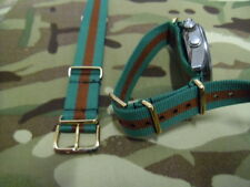 WRAC green / brown G1098 watch strap, gilt fittings, Womens Royal Army Corps