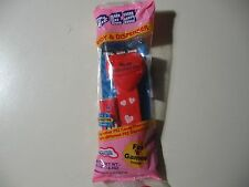 """PEZ: Red Heart """"Happy Valentine's Day"""", pink pack, red stick w/hearts, NEW"""