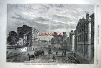 Antique Old London Engraved Print c1878 - 'Whitehall towards Holbein Gateway'