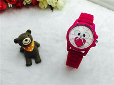 NEW Women's Fashion Silicone Simulation Wrist Watches Quartz T Bear Watch Red