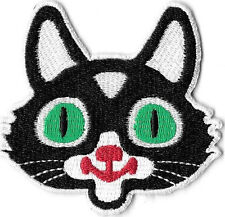 Cat Head Embroidered Patch / Iron On Applique