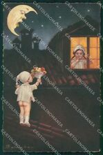 Colombo Art Deco Children Paper Moon CREASES serie 1907 postcard QT6534
