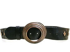 NUMBER (N)INE BLACK LEATHER BELT WITH COPPER TONE BUCKLE/STUDS BELT Sz IT 85