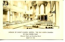 Pulpit-Flags-Christ Church-Boston-Massachusetts-RPPC-Real Photo Vintage Postcard