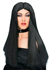 Adult Ladies Long Black Wicked Witch Fancy Dress Halloween Costume Wig Accessory
