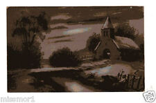 Vintage 1920s Postcard farmhouse at night Made in France Canada ?