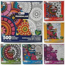 lot of 6 KARMIN® 500pc COLOR•A•PUZZLE Adult MANDALAS Coloring PUZZLES Jig Saw