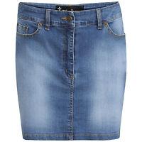 DeMina Womens Ladies Faded Denim Jean Short Stretch Stone Wash Mini Skirt