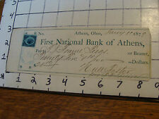 Cancelled Check: 1879 FIRST NATIONAL BANK of ATHENS, athens ohio