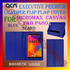 ACM-EXECUTIVE LEATHER FLIP CASE for MICROMAX CANVAS TAB P480 COVER STAND - BLUE