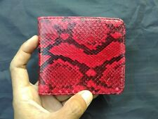 Genuine Python Skin BiFold Purse Red. Handmade Snake Skin Men's Wallet.