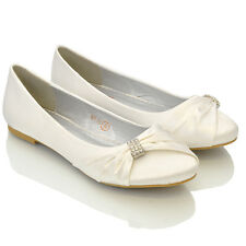 WOMENS BRIDAL WEDDING SATIN PUMPS LADIES SLIP ON PROM BRIDESMAID PUMPS SHOES 3-8