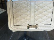 Rebecca Minkoff Tan/beige Leather Quilted Love Crossbody Gold Hardware Purse Bag