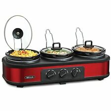 Bella Triple Slow Cooker & Server Electric Crockpots Electric Red 3 X 1.5 Quart